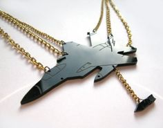 Black Fighter Jet Necklace