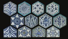A GROUP OF MAMLUK BLUE AND WHITE POTTERY TILES, DAMASCUS, SYRIA, CIRCA 1420-30    comprising eight hexagonal shape tiles and four five-sided tiles decorated in underglaze blue on a white ground with various designs centering around geometric and floral motifs, some with a light blue border  Quantity: 12  18cm. max. length
