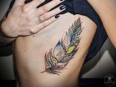 Ornamental watercolor feather by Diana Severinenko