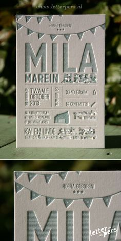 letterpers_letterpress_geboortekaartje_Mila_Groen_slingers_preeg_bijzonder-kaartje