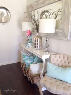 Style and Restyle a Console Table each season! A classically neutral corner is perfect for accessorizing in any color palette. Affordable glam available at HomeGoods. Sponsored Pin