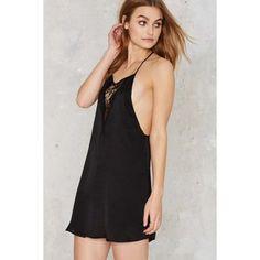 Just a Peek Satin Slip Dress