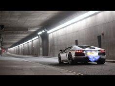 Of course a chrome Lamborghini Aventador should blast flames in an empty tunnel