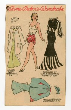 78.2376: Jane Arden's Wardrobe | paper doll | Paper Dolls | Dolls | Online Collections | The Strong