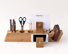 Large Desk Organizer Wood Office Organizer Desk by lessandmore, $175.00