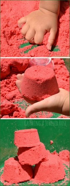 Watermelon Moon Sand recipe- so fun for Summer! This sand is mold-able but crumbly and produces the best sandcastles. It feels & smells amazing & It is really easy to make at home, too.