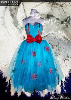 HAWAIIAN BLUE prom dress, tea lenght wedding, blue tulle with flowers decoration, alternative bride, blue wedding dress, party dress