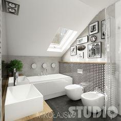wc i bidet Sloped Ceiling Bathroom, Small Attic Bathroom, Small Shower Room, Loft Bathroom, Upstairs Bathrooms, Downstairs Bathroom, Bathroom Design Small, Bathroom Interior Design, Bathtub Tile