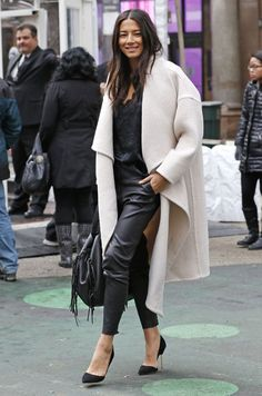jessica gomes over coat leather pants street style