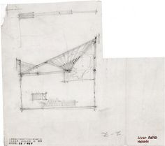Drawing of one of the trusses used for carrying the council chamber ceiling, known as butterflies. Drawing: Alvar Aalto Museum.