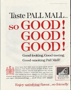 """1961 PALL MALL CIGARETTES vintage magazine advertisement """"so GOOD"""" ~ Taste Pall Mall ... so GOOD! so GOOD! so GOOD! Good-looking, Good-tasting, Good-smoking Pall Mall! ~ Size: The dimensions of each page of the two-page advertisement are approximately 10.5 inches x 13.5 inches (26.75 cm x 34.25 cm). Condition: This original vintage two-page advertisement is in Excellent Condition unless otherwise noted."""