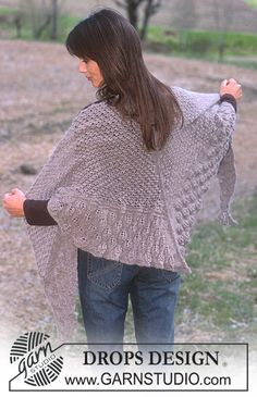 Blackberry Stitch and Leaf Pattern Shawl in Alpaca Free pattern by DROPS Design.