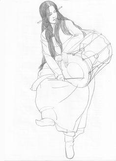 janggu dance figure drawing pencil on paper