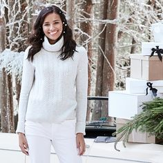 Buy Roll-Neck Cable Sweater - from The White Company Luxury Gifts For Her, Jumper Outfit, Gift Sets For Women, The White Company, Cable Sweater, Traditional Looks, Roll Neck, Fashion 2017, Clothes For Sale