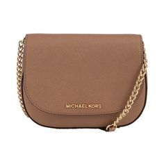 MICHAEL Michael Kors Jet Set Small Leather Across Body Bag (16.720 RUB) ❤ liked on Polyvore featuring bags, handbags, shoulder bags, khaki, brown purse, crossbody purse, leather crossbody purse, brown crossbody and crossbody handbags