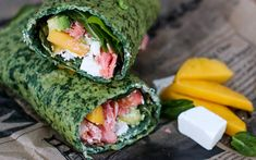 Spinach egg wrap with salmon