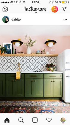 New kitchen colors green cabinets hardware ideas Boho Kitchen, New Kitchen, Kitchen Paint, Kitchen Black, Kitchen Modern, Kitchen Small, Light Green Kitchen, Olive Green Kitchen, Eclectic Kitchen