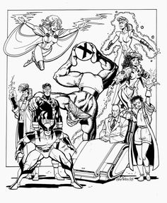 xmen square WD group shot 10 by 12 image on bristol board