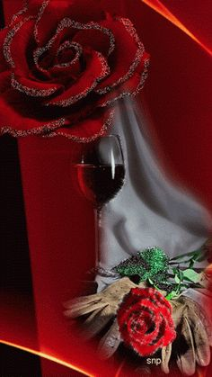 red rose and red wine gif Beautiful Gif, Beautiful Roses, When Youre In Love, Glitter Graphics, Gif Animé, Pretty Flowers, My Favorite Color, 4th Of July Wreath, Wallpaper Backgrounds