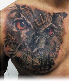 """Hoot!"" says this beautiful owl. #InkedMagazine #freemason #owl #bird #tattoo #tattoos #inked #ink #art"