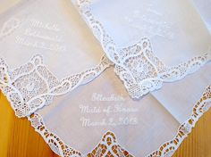 Bridesmaid Wedding Handkerchief with names and date by linenwhites