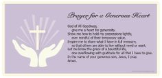 """""""Prayer for a Generous Heart"""" -  use it with your family or class to heighten awareness of Lenten almsgiving."""