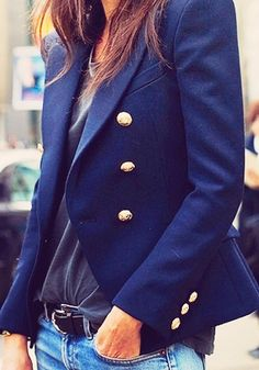 Blue blazer with gold buttons.