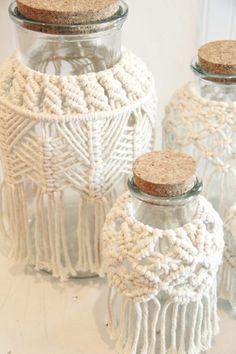 Macrame vase, macrame candle holder, hurricane jar, macrame jar, boho decor, This Is What I Do Studio, Wedding decor. Follow me on Instagram @thisiswhatido