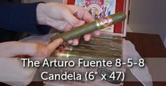 Stephanie unboxes the the Arturo Fuente Candela. This cigar has a Dominican binder and filler, and is wrapped with a lovely Candela wrapper.