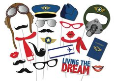 Airplane Pilot Photo booth Props Party Set 21 Piece