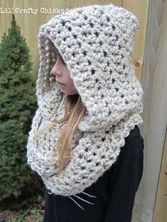 Crochet Hoods Ravelry: Hooded Infinity Scarf pattern by Lil' Crafty Chickadee - Warm and cozy hooded infinity scarf, perfect for keeping extra warm and for layering. Crochet Hooded Scarf, Crochet Scarves, Crochet Shawl, Crochet Clothes, Knit Crochet, Infinity Scarf Crochet, Hooded Scarf Pattern, Easy Crochet Patterns, Knitting Patterns