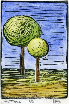Gorgeous lino print with water color: Two Trees Lino, 2 by dailyartmasomenos, via Flickr