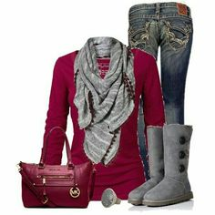 Ignore the Ugg-like boots (I hate those). I'm ok with certain shades of red if they're toned down with a neutral like a scarf.