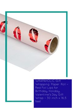 WRAPAHOLIC Gift Wrapping Paper Roll – Red Foil Lips for Birthday, Holiday, Valentine's Day Gift Wrap – 30 inch x 16.5 feet Gift Wrapping Paper, Valentine Day Gifts, Wraps, Birthday, Holiday, Red, Vacations, Birthdays, Holidays Events