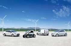 Renault electric cars (from left to right): Fluence Z.E., Twizzy, Kangoo Express Z.E. and Clio-Sized Zoe Z.E. (Credit: Renault) #Renault #EV #electriccar #ZOE #Twizzy #Fluence #Kangoo