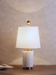 Ernst Marble Table Lamp - With its striking marble base, brass accents and exquisite tapered shade, the Ernst Marble Table Lamp makes an unmissable impression. Decoration Lights For Home, Light Decorations, Fine Furniture, Furniture Making, Cheap Table And Chairs, Round Marble Table, Luxury Table Lamps, Wall Lights, Ceiling Lights