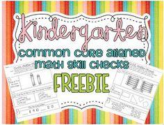 Common Core SUPER FREEBIE! 22 cc aligned math skill checks {Kindergarten!}