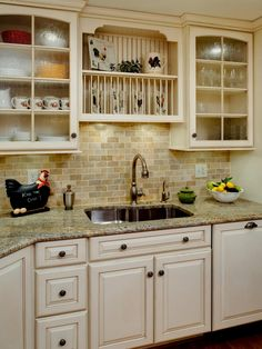 Modern Country Kitchen Decorating Ideas : Best Kitchens Design 2015 : Terrific Country Decorating For White Kitchen Designs With Kitchen Cabinet Feat Glass Doors And Grey Granite Kitchen Countertop With Sink
