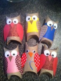 Toilet paper roll owls for your many uses of toilet paper rolls board :-)