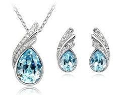 Ninabox ® Long Beach Collection [LBC] -- Eye of the Sea. Beautiful Jewelry Sets! 18K White Gold Plated Alloy Leaf Shaped Pendant Necklace & Stud Earrings Jewelry Sets with Teardrop Shaped Ocean Blue and Small Clear Swarovski Elements Crystal. Fashion Party Jewelry Set for Women. T000046