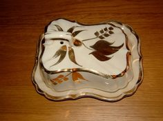 Vintage1940s 1930s Gilded Gold Pattern Cheese by QueensParkVintage, $40.00