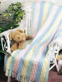 Knitting - Baby Knitting Patterns - Rainbow Crib Cover