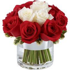 Arranjo de rosas importadas brancas e vermelhas