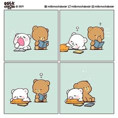 Cute Couple Cartoon, Cute Cartoon Pictures, Cute Love Pictures, Bear Pictures, Cat Couple, Gif Mignon, Wallpaper Fofos, Bear Gif, Cute Bear Drawings