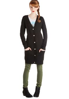 At Long Last Cardigan in Black - Knit, Black, Solid, Buttons, Pockets, Long Sleeve, Better, Variation, Casual, V Neck