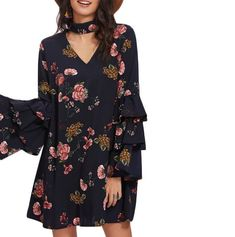 Choker Neck Swing Dress - Five Sages