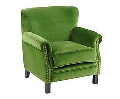Fauteuil velours et hévéa, vert et noir - H78