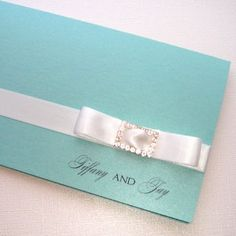 Tiffany Folded Invitationvendors: Embellished by Tiffany Source by marinacharitopouloudesign de xv azul acua Wedding Prep, Wedding Guest Book, Wedding Planning, Wedding White, Wedding Ideas, Dream Wedding, Azul Tiffany, Tiffany And Co, Tiffany Blue