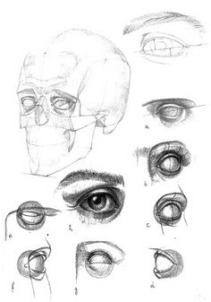 classical figure drawing and the contemporary realism of hedwardbrooks: Basic constructs of the eye and mouth.
