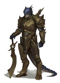 Male Blue Half-Dragon Fighter - Pathfinder PFRPG DND D&D d20 fantasy